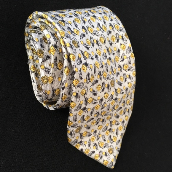 f0b66434359e GIANNI VERSACE Accessories   Greyyellow Medusa Headfeather Tie ...
